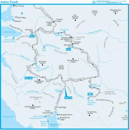 Aotea Track - mapa